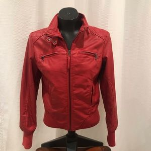 Jackets & Blazers - Red faux leather jacket
